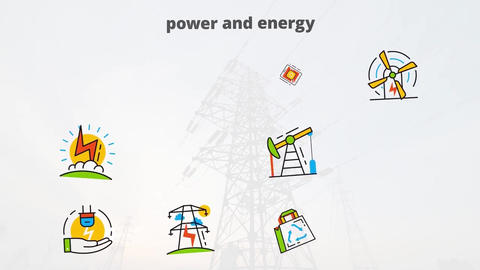 Power and energy flat animated icons After Effects Template