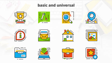 Basic universal flat animated icons After Effects Template