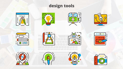 Design tools flat animated icons After Effects Template