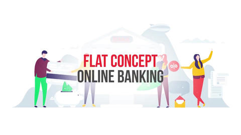 Online banking flat concept After Effects Template