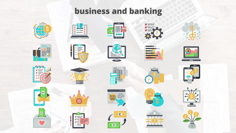 Business and banking flat animation icons After Effects Template