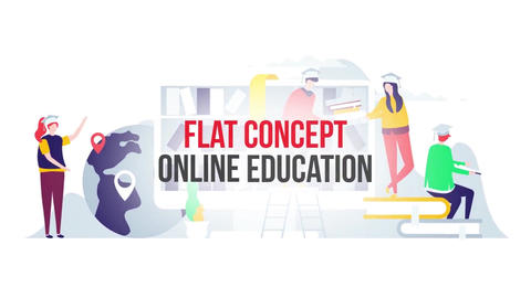 Online education flat concept After Effects Template