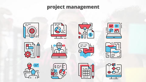 Project management flat animation icons After Effects Template