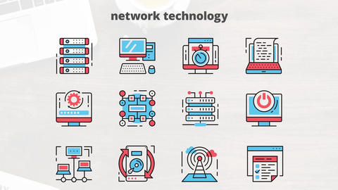 Network technology flat animation icons After Effects Template