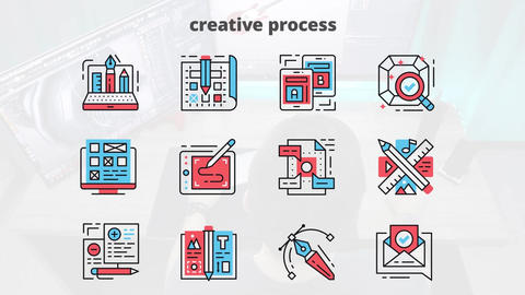 Creative process flat animation icons After Effects Template