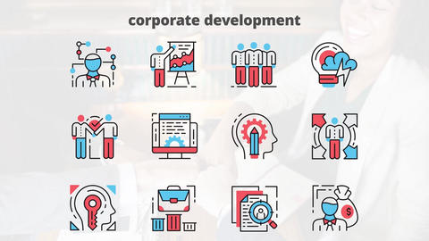 Corporate development flat animation icons After Effects Template