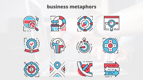 Business metaphors flat animation icons After Effects Template