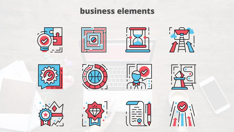 Business elements flat animation icons After Effects Template