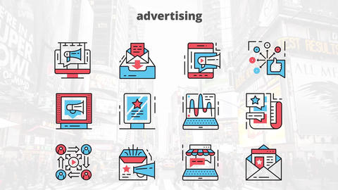 Adversting flat animation icons After Effects Template