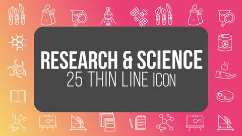 Research science 25 thin line icons After Effects Template