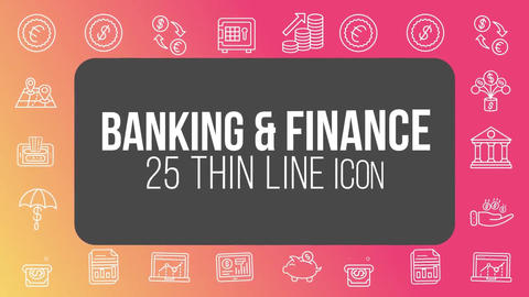 Banking finance 25 thin line icons After Effects Template