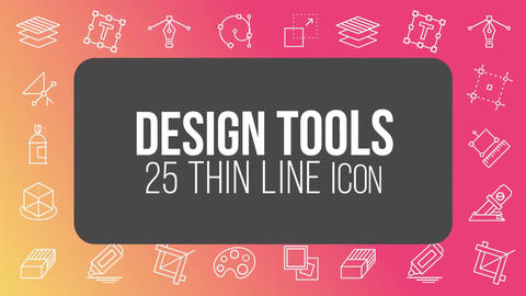 Design tools 25 thin line icons After Effects Template