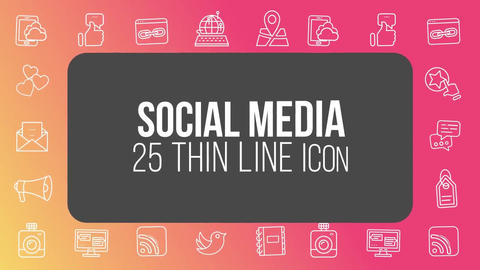 Social media 25 thin line icons After Effects Template