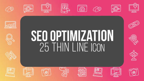 Seo optimization 25 thin line icons After Effects Template