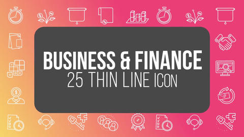 Business finance 25 thin line icons After Effects Template