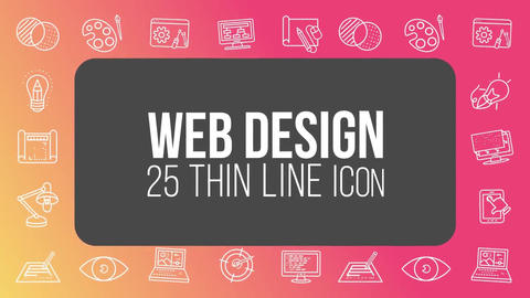 Web design 25 thin line icons After Effects Template