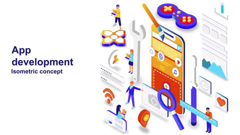 App development isometric concept After Effects Template