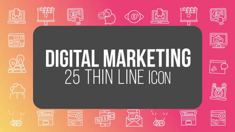 Digital marketing 25 thin line icons After Effects Template