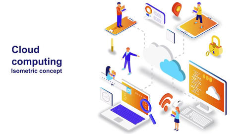 Cloud computing isometric concept After Effects Template