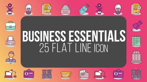 Business essentials 25 flat line icons After Effects Template