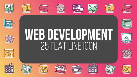 Web development 25 flat line icons After Effects Template