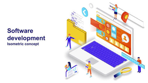 Software development isometric concept After Effects Template