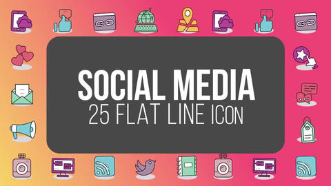 Social media 25 flat line icons After Effects Template