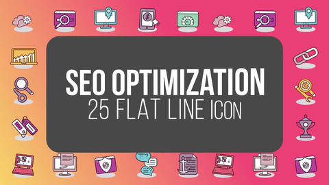 Seo optimization 25 flat line icons After Effects Template