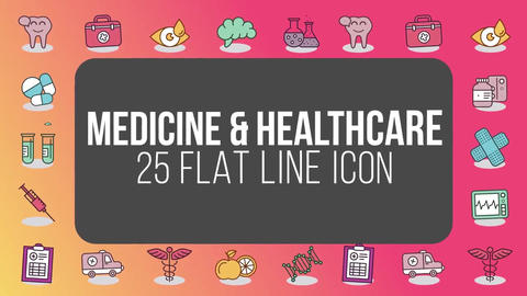 Medicine healthcare 25 flat line icons After Effects Template