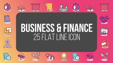Business and finance 25 flat line icons After Effectsテンプレート