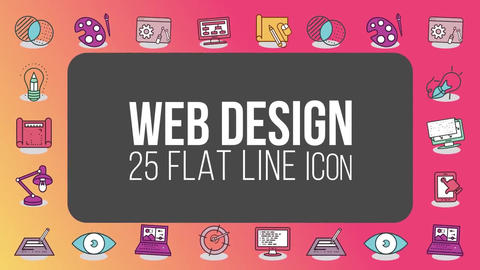 Web design 25 flat line icons After Effects Template
