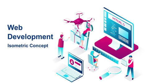 Web development isometric concept After Effects Template