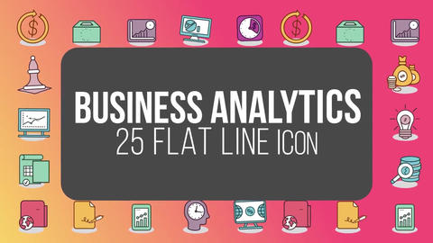 Business analytics 25 flat line icons After Effects Template