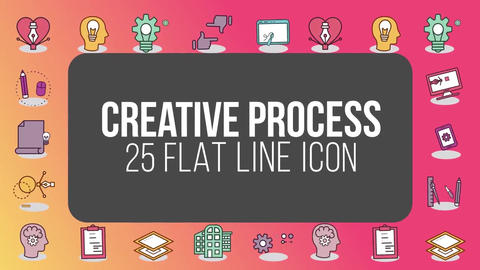 Creative process 25 flat line icons After Effects Template