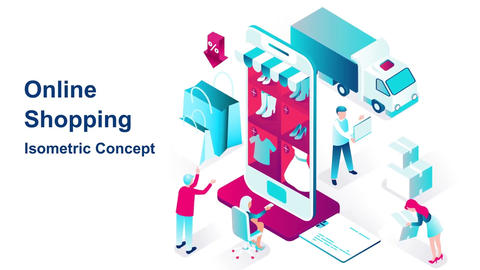 Online shopping isometric concept After Effects Template