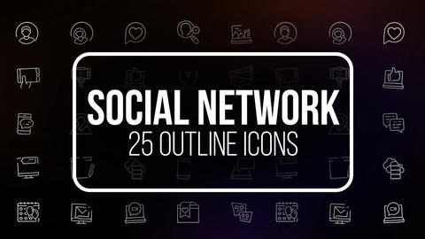 Social network 25 outline animated icons After Effects Template