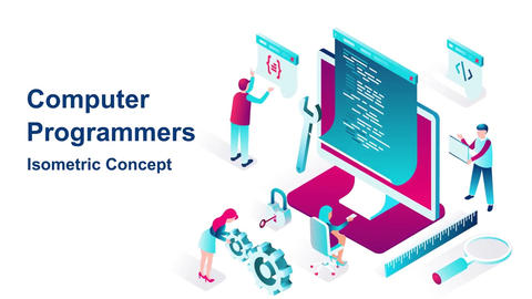 Computer programmers isometric concept After Effects Template