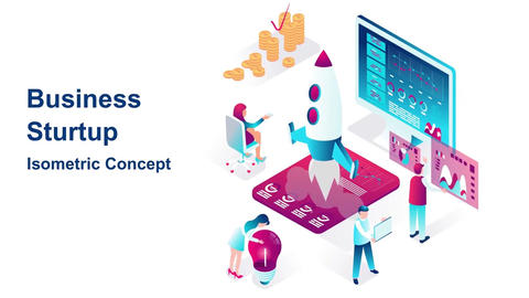 Business startup isometric concept After Effects Template