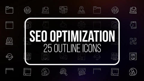 Seo optimization 25 outline icons After Effects Template