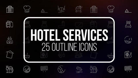 Hotel service 25 outline icons After Effects Template