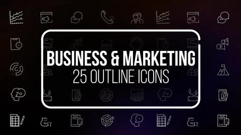 Business and marketing 25 outline icons After Effects Template