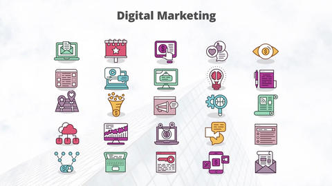 Digital marketing mogrt icons Motion Graphics Template