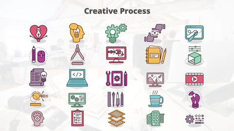Creative process mogrt icons Motion Graphics Template