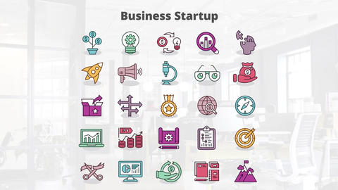 Business startup mogrt icons Motion Graphics Template