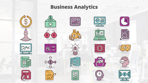 Business analytics mogrt icons Motion Graphics Template