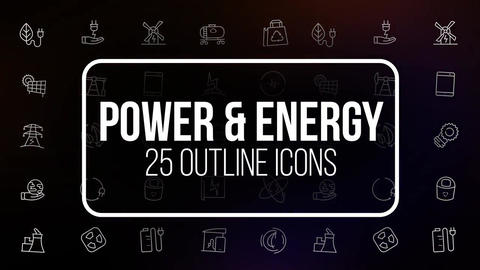 Power and energy 25 animated icons Motion Graphics Template