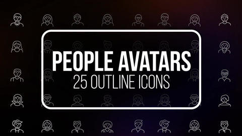 People avatars 25 outline icons Motion Graphics Template