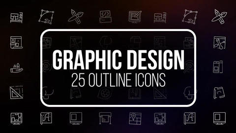 Graphic design 25 outline animated icons Motion Graphics Template