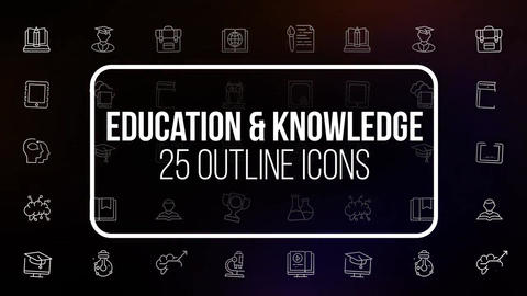Education and knowledge 25 icons Motion Graphics Template
