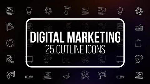 Digital marketing 25 outline animated icons Motion Graphics Template